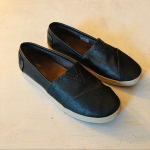 Toms • leather slip ons size 8 women's